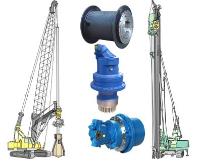 Drilling Rigs and Piling_Rigs, GFT-W Winch Drives, GFT-W Hydraulic Winches, GFB Swing Drives, GFT Travel Drives